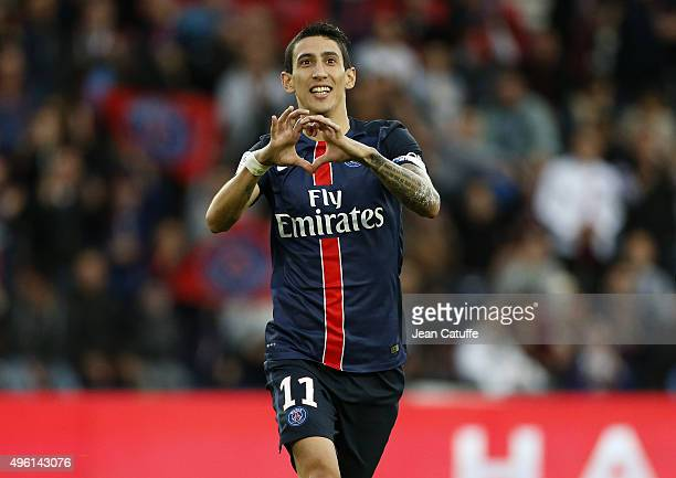 Angel Di Maria of PSG celebrates scoring the first goal of PSG during the French Ligue 1 match between Paris SaintGermain and Toulouse FC at Parc des...