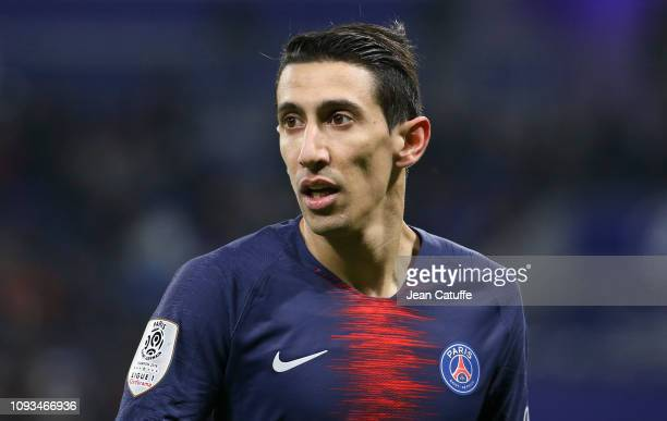 Angel Di Maria of PSG during the french Ligue 1 match between Olympique Lyonnais and Paris SaintGermain at Groupama Stadium on February 3 2019 in...