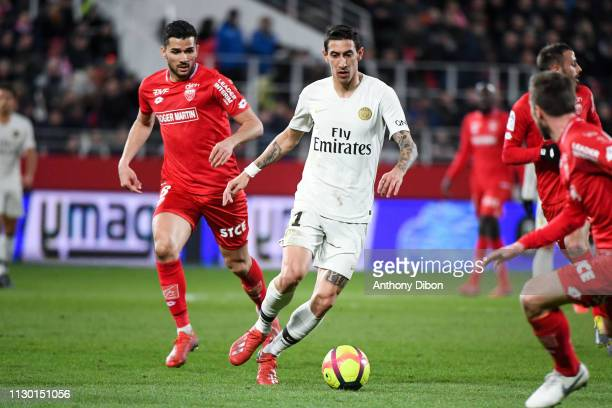 Angel Di Maria of PSG during the Ligue 1 match between Dijon and Paris Saint Germain at Stade Gaston Gerard on March 12 2019 in Dijon France