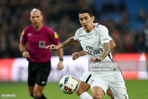 Angel Di Maria of PSG during the Ligue 1 match between Montpellier Herault SC and Paris SaintGermain at Stade de la Mosson on December 3 2016 in...