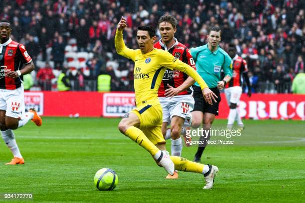 Angel Di Maria of PSG during the Ligue 1 match between OGC Nice and Paris Saint Germain at Allianz Riviera on March 18 2018 in Nice