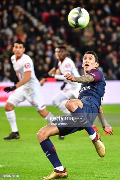 Angel Di Maria of PSG during the Ligue 1 match between Paris Saint Germain and Lille OSC at Parc des Princes on December 9 2017 in Paris France