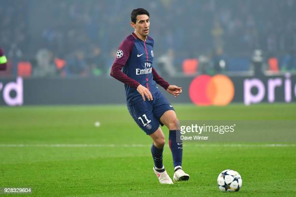 Angel Di Maria of PSG during the UEFA Champions League Round of 16 second leg match between Paris Saint Germain and Real Madrid at Parc des Princes...