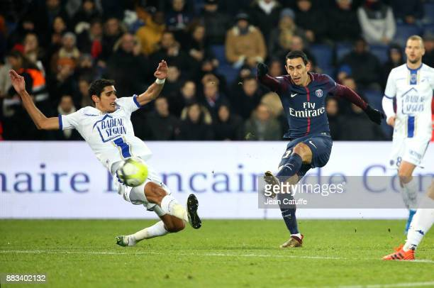 Angel Di Maria of PSG Francois Bellugou of Troyes during the French Ligue 1 match between Paris Saint Germain and Troyes ESTAC at Parc des Princes on...