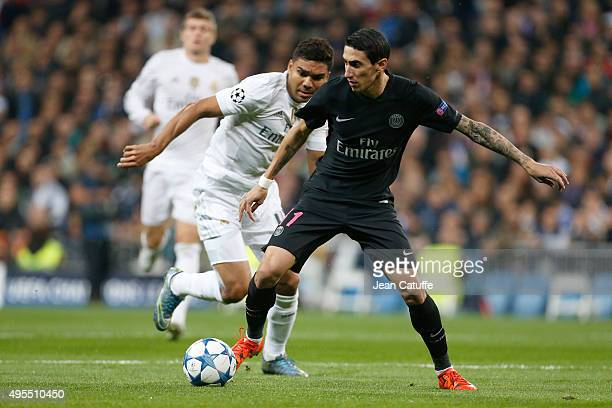 Angel Di Maria of PSG in action during the UEFA Champions League match between Real Madrid and Paris SaintGermain at Santiago Bernabeu stadium on...