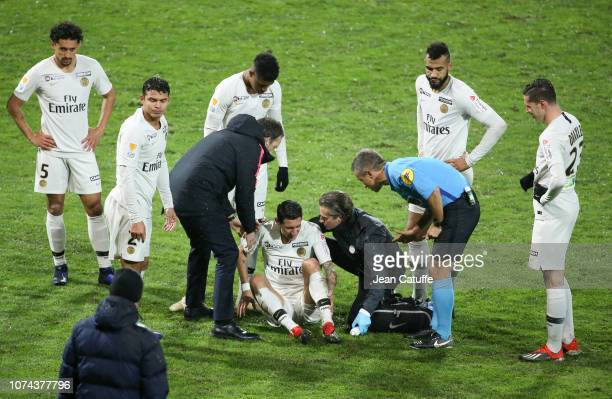 Angel Di Maria of PSG injured leaves the pitch during the french League Cup at Stade de la Source on December 18 2018 in Orleans France