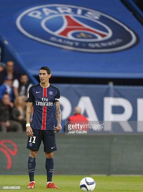 Angel Di Maria of PSG looks on during the French Ligue 1 match between Olympique Lyonnais and AS SaintEtienne at Stade de Gerland on November 8 2015...