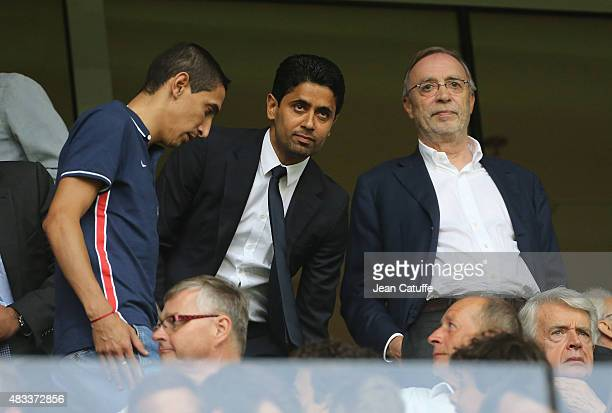 Angel Di Maria of PSG President of PSG Nasser AlKhelaifi and President of Lille OSC Michel Seydoux attend the French Ligue 1 match between Lille OSC...