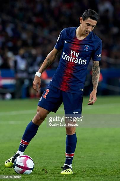 Angel Di Maria of PSG reacts during the French Ligue 1 match between Paris Saint Germain and AS Saint Etienne at Parc des Princes on September 14...