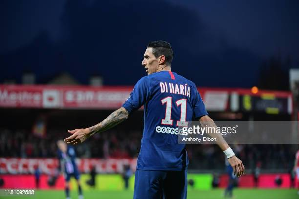 Angel DI MARIA of PSG reacts during the Ligue 1 match between Brest and Paris Saint Germain at Stade FrancisLe Ble on November 9 2019 in Brest France