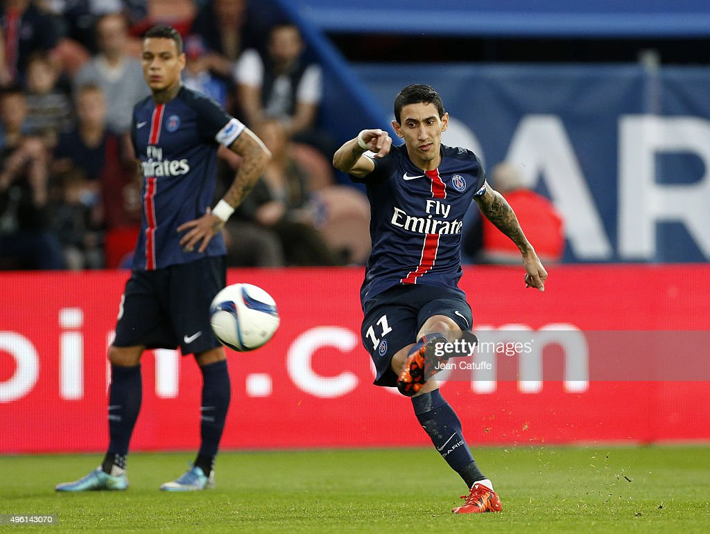Angel Di Maria of PSG scores the first goal of PSG during the French Ligue 1 match between Paris Saint-Germain (PSG) and Toulouse FC (TFC) at Parc des Princes stadium on November 7, 2015 in Paris, France.