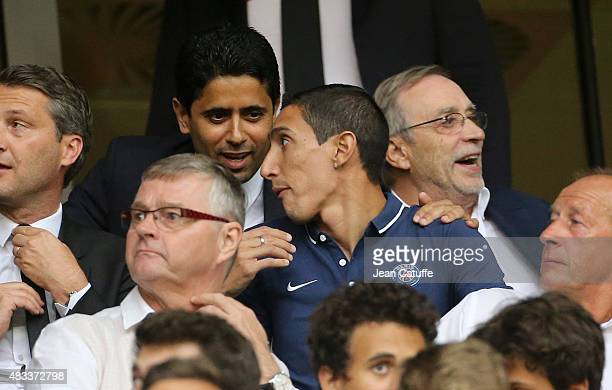 Angel Di Maria of PSG talks to President of PSG Nasser AlKhelaifi during the French Ligue 1 match between Lille OSC and Paris SaintGermain at Grand...