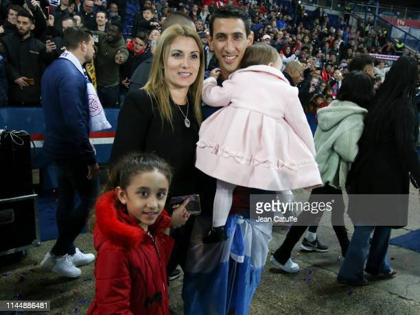 Angel Di Maria of PSG with his wife Jorgelina Cardoso and their daughters Mia Di Maria and Pia Di Maria celebrate winning the 'French Championship...