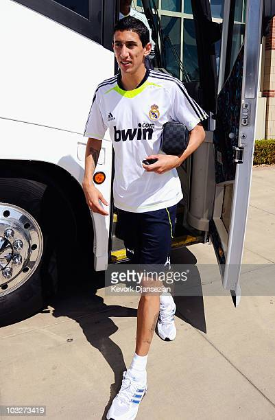 Angel Di Maria of Real Madrid arrives to participate in the Adidas training with local youth soccer players on August 5 2010 in the Westwood section...