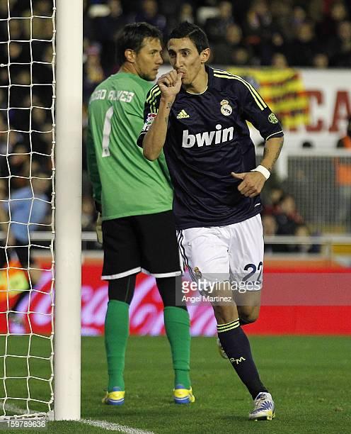 Angel di Maria of Real Madrid celebrates after scoring during the La Liga match between Valencia CF and Real Madrid at Estadio Mestalla on January 20...