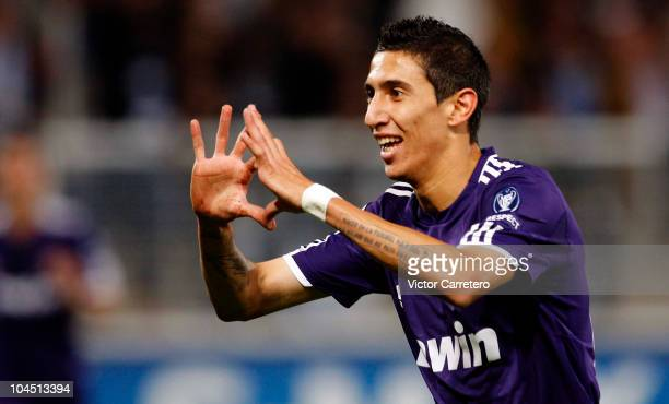 Angel di Maria of Real Madrid celebrates after scoring during the UEFA Champions League group G match between Auxerre and Real Madrid at...