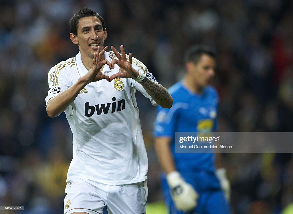 Angel Di Maria of Real Madrid celebrates after scoring during the UEFA Champions League quarter-final second leg match between Real Madrid and APOEL FC at Bernabeu on April 4, 2012 in Madrid, Spain.