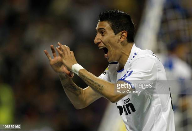 Angel di Maria of Real Madrid celebrates after scoring his team's first goal during the La Liga match between Hercules and Real Madrid at Estadio...