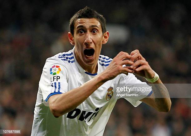 Angel di Maria of Real Madrid celebrates after scoring the opening goal of the La Liga match between Real Madrid and Sevilla at Estadio Santiago...