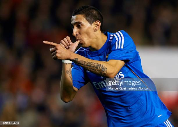 Angel Di Maria of Real Madrid celebrates after scoring the opening goal during the La Liga match between Valencia CF and Real Madrid CF at Estadio...