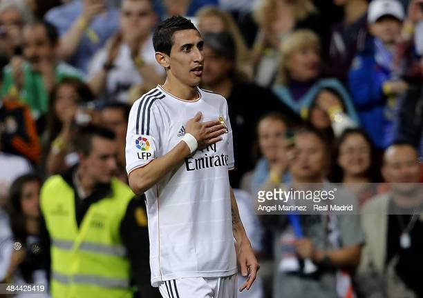 Angel di Maria of Real Madrid celebrates after scoring the opening goal during the La Liga match between Real Madrid and UD Almeria at Estadio...