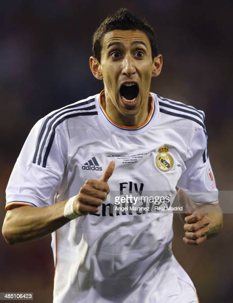 Angel di Maria of Real Madrid celebrates after scoring the opening goal during the Copa del Rey Final between Real Madrid and Barcelona at Estadio...