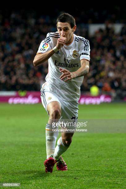 Angel Di Maria of Real Madrid CF celebrates scoring their third goal during the Copa del Rey semifinal first leg match between Real Madrid CF and...