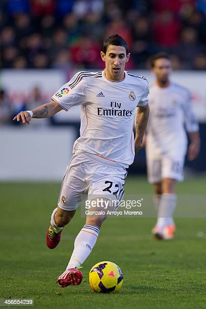 Angel Di Maria of Real Madrid CF controls the ball during the La Liga match between CA Osasuna and Real Madrid CF at Estadio El Sadar de Navarra on...