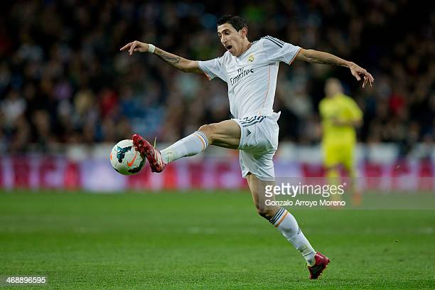 Angel Di Maria of Real Madrid CF controls the ball during the La Liga match between Real Madrid CF and Villarreal CF at Estadio Santiago Bernabeu on...