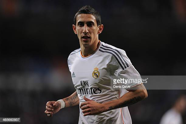 Angel Di Maria of Real Madrid CF looks on during during the Copa Del Rey Quarter Final 2nd leg match between Real Madrid CF and RCD Espanyol at...