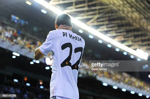 Angel Di Maria of Real Madrid CF reacts during the Copa del Rey Final between Real Madrid and FC Barcelona at Estadio Mestalla on April 16 2014 in...
