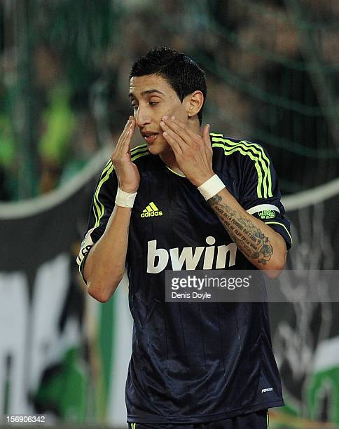 Angel Di Maria of Real Madrid CF reacts during the La Liga match between Real Betis Balompie and Real Madrid CF at Estadio Benito Villamarin on...