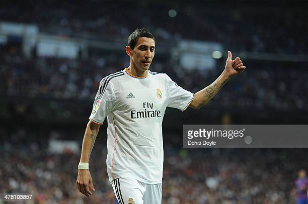 Angel Di Maria of Real Madrid CF reacts during the La Liga match between Real Madrid CF and Levante UD at Santiago Bernabeu stadium on March 9 2014...
