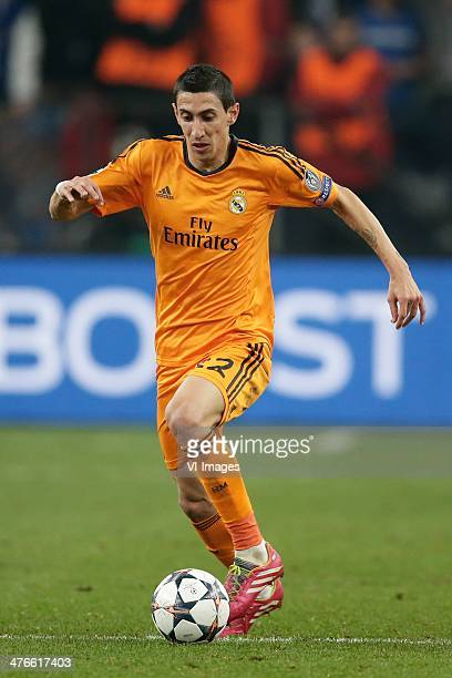 Angel Di Maria of Real Madrid during the Champions League match between Schalke 04 and Real Madrid at VeltinsArena on february 26 2014 in...