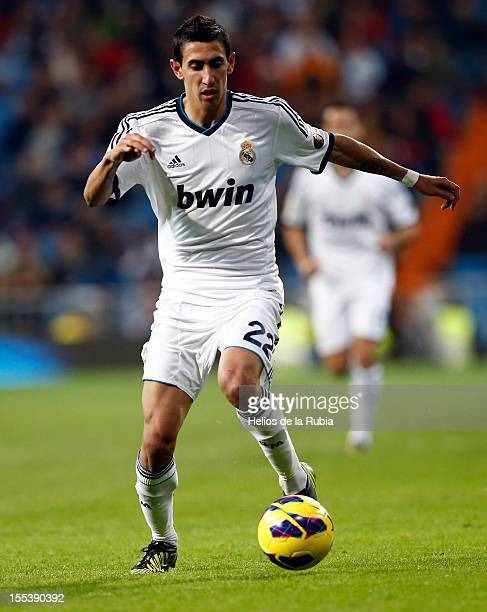 Angel Di Maria of Real Madrid in action during the La Liga match between Real Madrid and Real Zaragoza at Bernabeu stadium on November 3 2012 in...