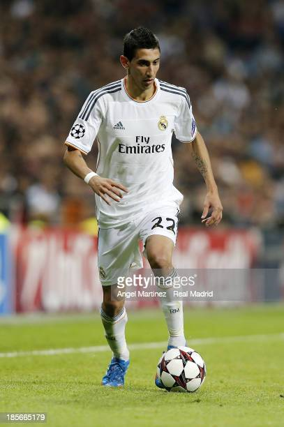 Angel di Maria of Real Madrid in action during the UEFA Champions League Group B match between Real Madrid and Juventus at Estadio Santiago Bernabeu...