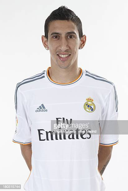Angel di Maria of Real Madrid poses during the official team photo session at Valdebebas training ground on September 13 2013 in Madrid Spain