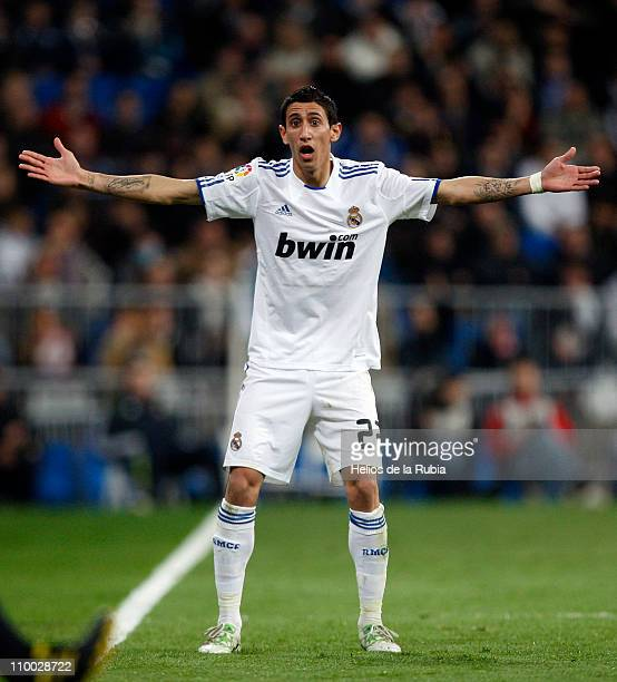 Angel di Maria of Real Madrid reacts during the La Liga match between Real Madrid and Hercules at Estadio Santiago Bernabeu on March 12 2011 in...