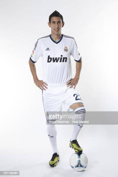 Angel di Maria poses during the Real Madrid CF presentation at Valdebebas training ground on September 13 2012 in Madrid Spain