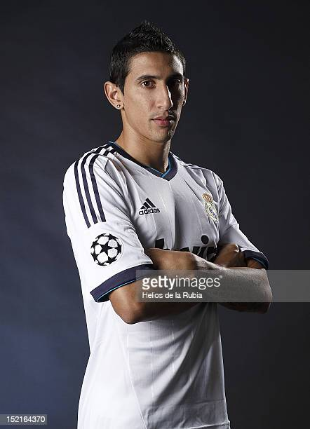 Angel di Maria poses during the Real Madrid CF presentation at Valdebebas training ground on September 13, 2012 in Madrid, Spain.