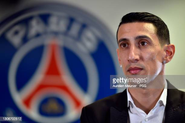 Angel Di Maria signs a contract extension for 1 year plus a year on option with Paris Saint-Germain on March 12, 2021 in Boulogne-Billancourt, France.