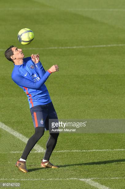 Angel Di Maria warms up during a training session of Paris Saint Germain PSG at Camp des Loges on January 26 2018 in Paris France