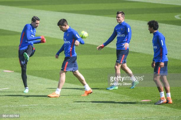 Angel Di Maria Yuri Berchiche Giovani Lo Celso and Marquinhos of PSG during the Paris Saint Germain Training Session at Camp des Loges on May 3 2018...