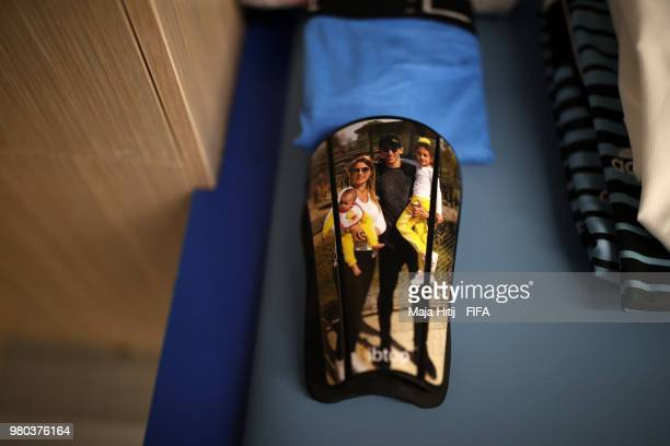 Angel Di Maria's shinpads are seen in the Argentina dressing room prior to the 2018 FIFA World Cup Russia group D match between Argentina and Croatia...