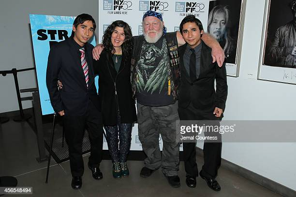 Angel director Debra Granik Ronnie 'Stray Dog' Hall and Jesus attend the Stray Dog photo call during the 52nd New York Film Festival at Film Center...