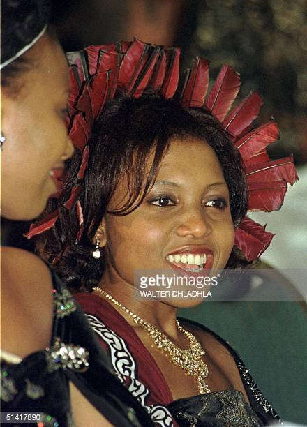 Angel Dlamini a new and sixth wife of Swaziland King Mswati III at the state banquet to celebrate his 30th birthday which he shares with the 30th...
