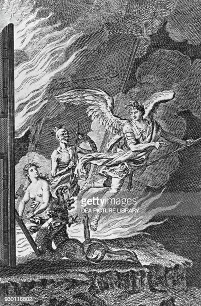 Angel engraving from Paradise Lost by John Milton London edition 1770 United Kingdom