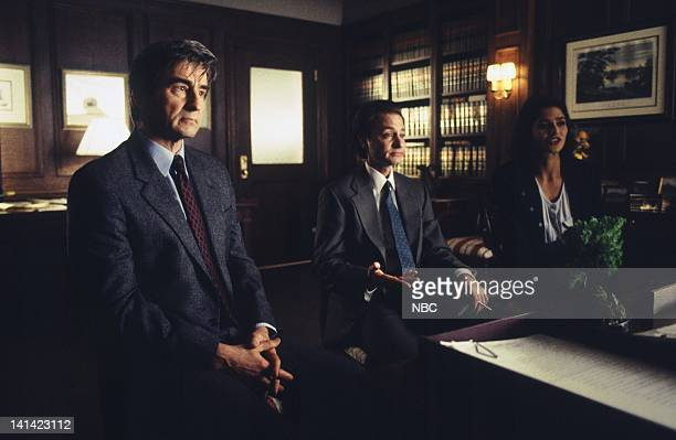 """Angel"""" Episode 8 -- Aired -- Pictured: Sam Waterston as Executive A.D.A. Jack McCoy, Fisher Stevens as Ross Fineman, Jill Hennessy as A.D.A. Claire..."""