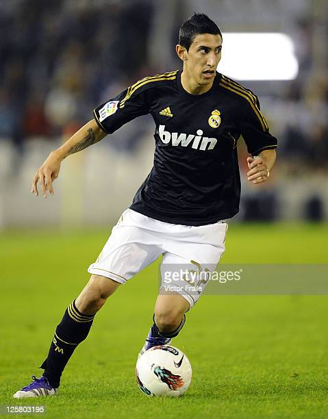 Angel Fabian Di Maria of Real Madrid runs with the ball during the La Liga soccer match between Real Racing Club and Real Madrid at El Sardinero...