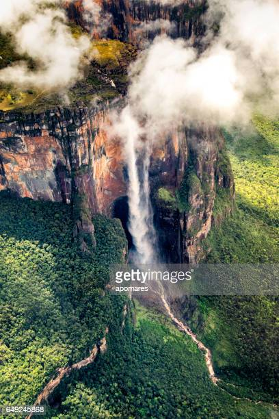 Angel falls aerial view at Auyan Tepui. Canaima National Park